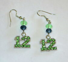 Silver Tone Blue Bead New Twelves 12 Earrings Seattle Football Green Crystals