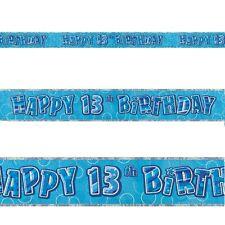 9ft Happy 13th Birthday Blue Sparkle Prismatic Party Foil Banner Decoration