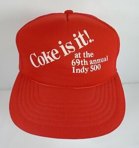 1985 Snapback Hat Coke It Is At The 69th Annual Indy 500 Vintage Souvenirs IMS