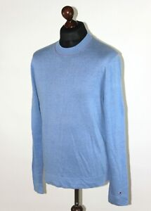 Tommy Hilfiger mens pure linen blue pullover jumper Size M Sample