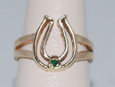 10k Gold ring with an Emerald(May birthstone) and horseshoe design
