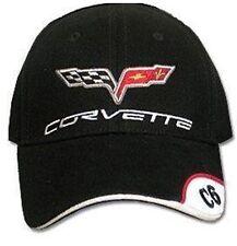 C6 Corvette Black Brushed Cotton Hat with Brim Emblem