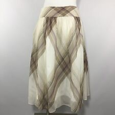 Talbots Silk Flare Skirt 6 S Small Plaid Beige White Sheer Full Below Knee