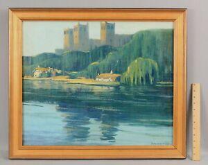 LAntique SIDNEY WIGGINS American Impressionist Oil Painting, Durham Cathedral NR
