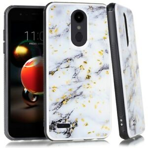 For LG Phoenix 4 LM-X210APM / LG Fortune 2 Marble Case Cover +Tempered Glass