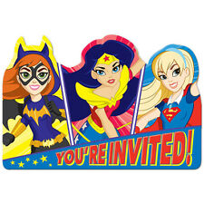 DC SUPER HERO GIRLS INVITATIONS (8) ~ Birthday Party Supplies Stationery Cards
