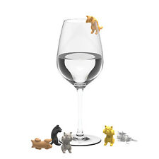 """True Fabrications """"Paws Off"""" Cat Wine Glass Charms / Drink Markers - Set of 6"""