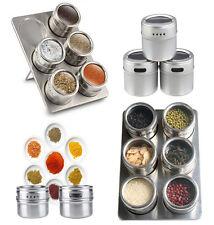 6 Pc Acciaio Inossidabile MAGNETICO POT Herb SPICE RACK tin jar Storage Holder Stand