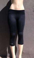 Black Heat Gear Under Armour Run Yoga Gym Crop Pants w Shine Dots, UPF  4./ S.