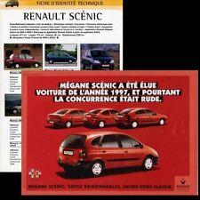 FICHE RENAULT SCENIC MEGANE 1.6E - 1.4 16V - RXI 2.0 16V  - CAR CARD