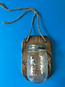 Rustic Glass BALL CANNING JAR Wood Base Rope Hanging Candle Holder Flower Vase