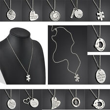 New English Proverbs Letter Lovely Family Member Pendant Necklace Lover Gifts