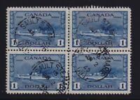 Canada Sc #262 (1942) $1 Destoyer War Issue Used Block of 4 VF