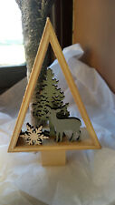 Christmas Wooden Display Decoration - Natural Wood Surround - Trees & Deer