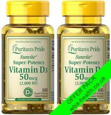 PURITANS PRIDE VITAMIN D3(sunshine vitamin)2000 iu 100 softgelsX SAVER PACK 621