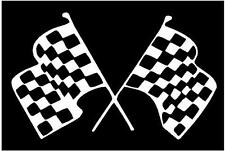 WHITE Vinyl Decal - Racing flags race car nascar finish line fun track sticker