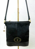 NWT FOSSIL Vintage Re-Issue (VRI) Black Leather Calf Hair Crossbody Shoulder Bag