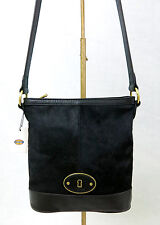FOSSIL Vintage Re-Issue (VRI) Black Leather Calf Hair Crossbody Shoulder Bag