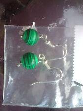 Malachite (8 mm) Dangle Earrings Handmade