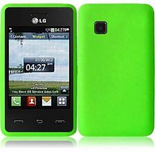 For TracFone LG 840g Rubber SILICONE Soft Gel Skin Case Phone Cover Neon Green