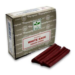 SATYA White Sage Incense Cones Home Fragrance + FREE 8 Vedmantra Dhoop Sticks