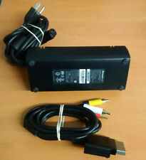 MICROSOFT BRAND Xbox 360 Slim AC ADAPTER & AV CABLE oem SLIM ONLY Power Cord