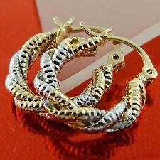 HOOP EARRINGS GENUINE REAL 18K MULTI-TONE G/F GOLD FILIGREE ANTIQUE TWIST DESIGN