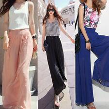 Lady Wide Leg Pants Chiffon HighWaist Long Loose Culottes Solid Trousers  US