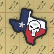 PVC TEXAS USA skull FLAG PATCH Military Tactical POLICE SWAT shape b14