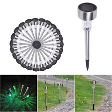 24 Pcs Stainless Steel LED Solar Landscape Light Pathway Garden Color Changing