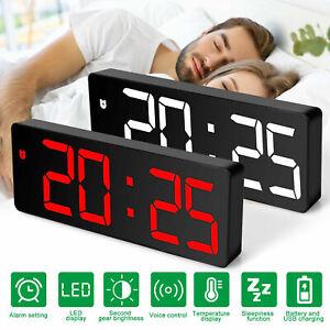 Digital LED Desk Alarm Clock Large Mirror Display USB Snooze Temperature Mode
