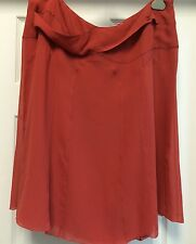 CHANEL Red -Orange 100% Silk Knee-lenght Skirt Sz F 46 US 12 L