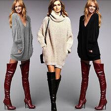 Damen Strickkleid Langarm Party Mini Kleider Pullover Sweater Tunika Longshirt