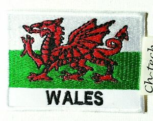 Embroidered Wales with Writing Welsh Dragon Flag Iron/Sew On Patch UK Badge