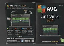 *NEW Avg AntiVirus 2014 3 pcs 1 Year