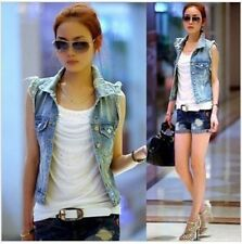 XL Junior Women Vintage Frayed Cardigan Denim Jeans Vest Waistcoat Jacket Coat