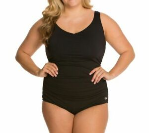 $199 Speedo Women's Black Endurance+ Plus Shirred One-Piece Swimsuit Size 20