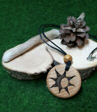 Wooden Pendant necklace with sun/moon engraved