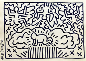 (Att.) Keith Haring 1987 Hand Signed Original Pop Art Drawing with Forensic COA