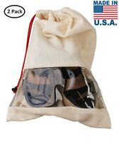 Earthwise Shoe Storage Travel Bags 100% Cotton w/Drawstring & Clear Window (2pc)