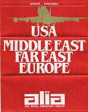 ALIA ROYAL JORDANIAN AIRLINES SYSTEM TIMETABLE SUMMER 1979
