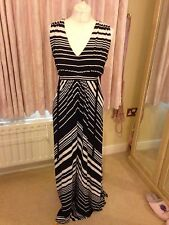 Phase Eight Navy And White Maxi Dress 12/14 Ladies