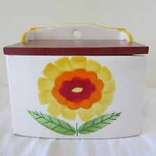 Vintage Hand Painted Ceramic Wall Saltcellar with Wood Lid Daisy Made in Japan