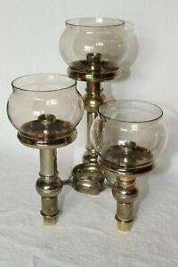 Nagel Design Kerzenständer vergoldet Kerzenhalter sehr selten BMF Quist 60/70er