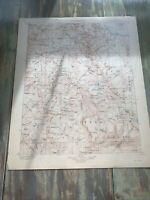 Vintage -Typography Map- Mt. Lyell California Quadrangle 1910. 20 X 16 Inch.