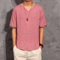 Retro Men Chinese Summer Cotton Linen Short Sleeve Shirt V-Neck Style T-shirt