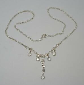 "Antique Design Sterling Silver Sparkly CZ Paste 16"" Necklace-5.6 Grams"