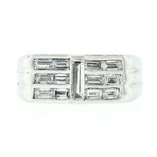 Vintage Platinum 0.98ctw Long Baguette Diamond Ring w/ 3 Triple Channel Accents
