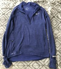 Nike Dri-Fit Therma Long Sleeve Running Shirt Size M Blue 683906 1/4 Zip Nwt