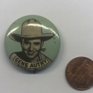 Vintage Pinback Button Badge Pin Gene Autry Cowboy Movie Star